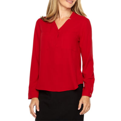 Black Label by Evan-Picone Long Sleeve Y Neck Blouse