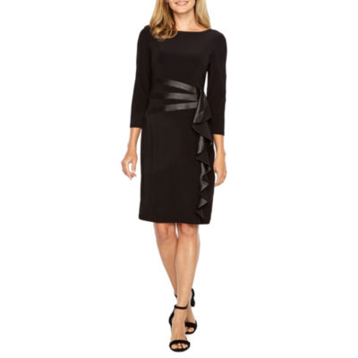 Black Label by Evan-Picone 3/4 Sleeve Sheath Dress