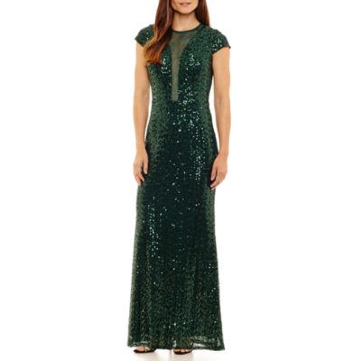 Blu Sage Short Sleeve Evening Gown