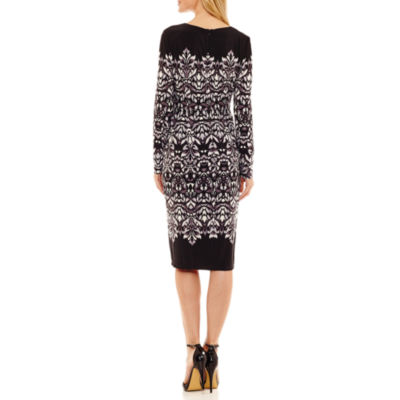 Liz Claiborne Long Sleeve Floral Sheath Dress