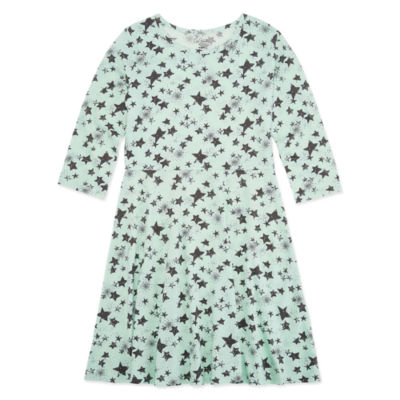 City Streets 3/4 Sleeve Fitted Sleeve Skater Dress - Big Kid Girls