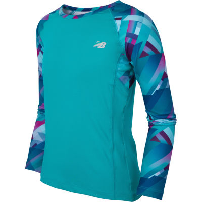 New Balance Long Sleeve Boat Neck T-Shirt-Big Kid Girls