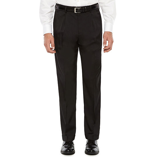 Savane Crosshatch Stretch Straight Fit Pleated Pants Mens