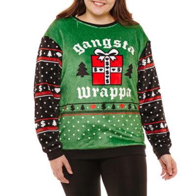 Fuzzy Ugly Christmas Sweatshirt-Juniors Plus