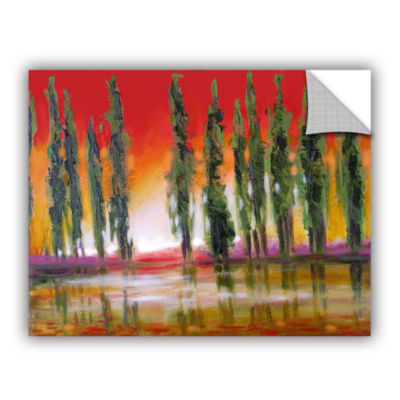 Brushstone Turquiose Rain Gallery Wrapped Floater-Framed Canvas Wall Art