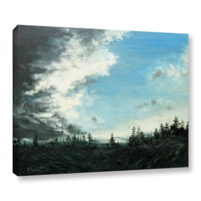 Brushstone Downpour Gallery Wrapped Framed CanvasWall Art