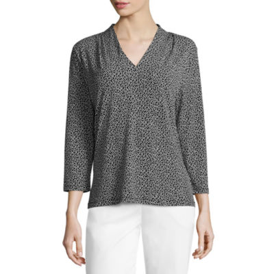 Liz Claiborne 3/4 Sleeve V Neck Blouse-Womens