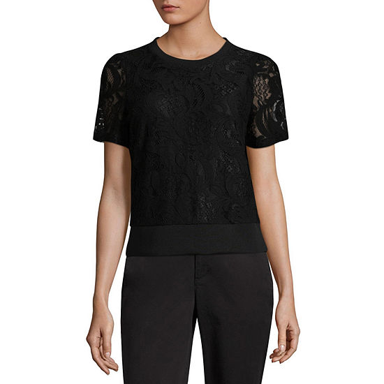 Worthington Womens Scoop Neck Short Sleeve Sweatshirt