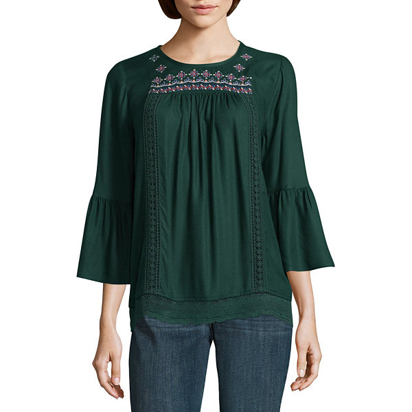 St. John's Bay Long Sleeve Round Neck Woven Geo Linear Blouse