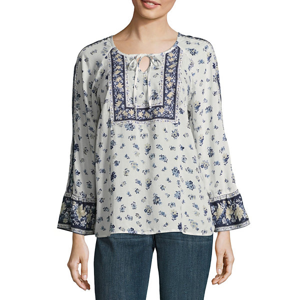 St. John's Bay Long Sleeve Split Crew Neck Woven Floral Blouse