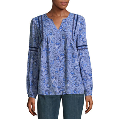 St. John's Bay Womens Y Neck Long Sleeve Woven Blouse