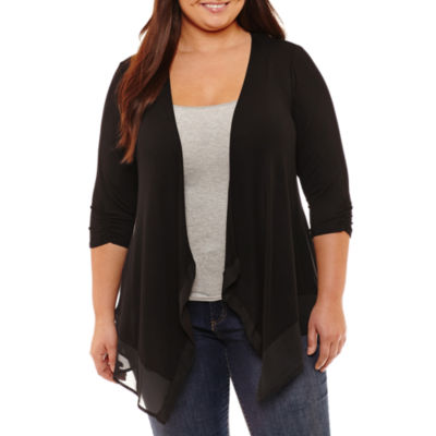 Alyx 3/4 Sleeve Open Front Cardigan-Plus