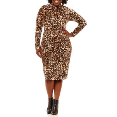 Bold Elements Long Sleeve Animal Bodycon Dress-Plus