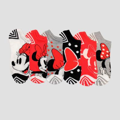 6 Pair Minnie Mouse No Show Socks - Womens