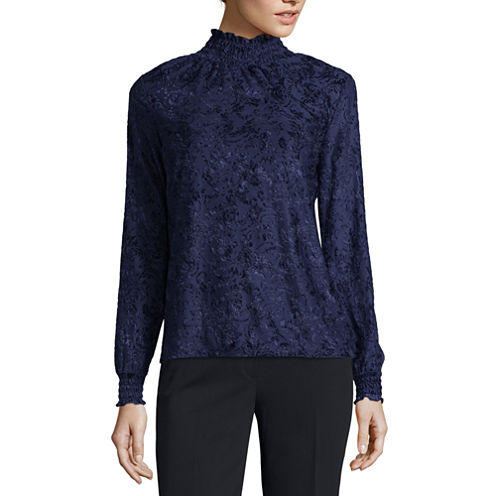 Liz Claiborne Long Sleeve Mock Neck Knit Blouse-Talls