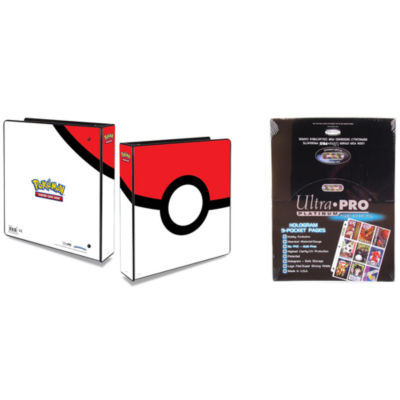 "Ultra Pro Pokémon Pokeball 2"" 3-Ring Binder CardAlbum With 100 Ultra Pro Platinum 9-Pocket Sheets"""