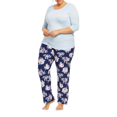 Gloria Vanderbilt Knit Pant Pajama Set- Womens Plus