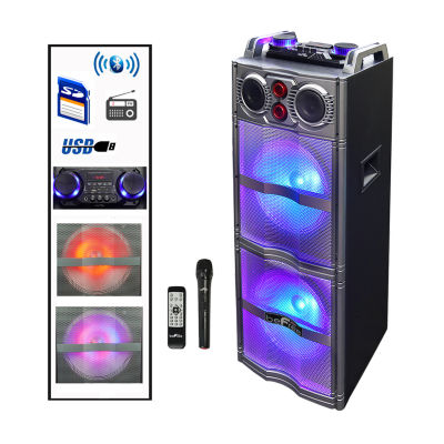 beFree Sound Double 10 Inch Subwoofer Bluetooth Portable Party Speaker with Reactive Lights,  USB/ SD Input, FM Radio, Remote Control and  Microphone