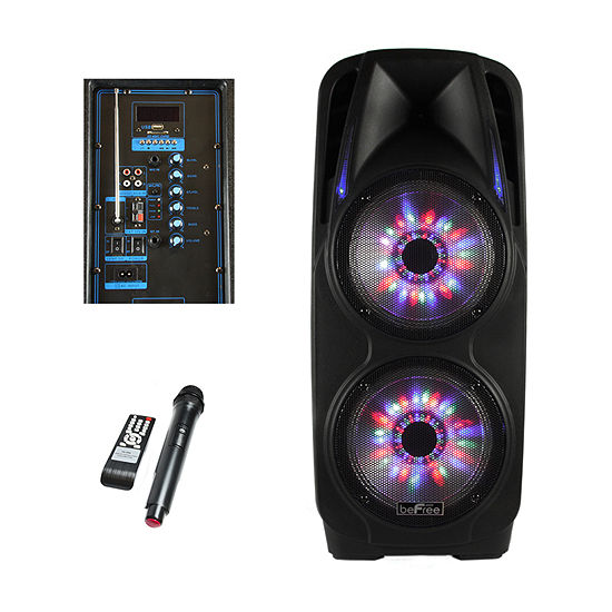 beFree Sound 2x10 Inch Woofer Portable Bluetooth Powered PA Party Speaker