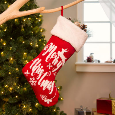 Merry Christmas Textured Fabric Stocking