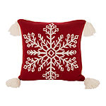 "18"" Knited Acrylic Red Pillow Cover with Tassels"