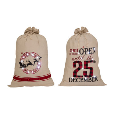 "36"" Lighted Burlap Gift Sack with Wording"