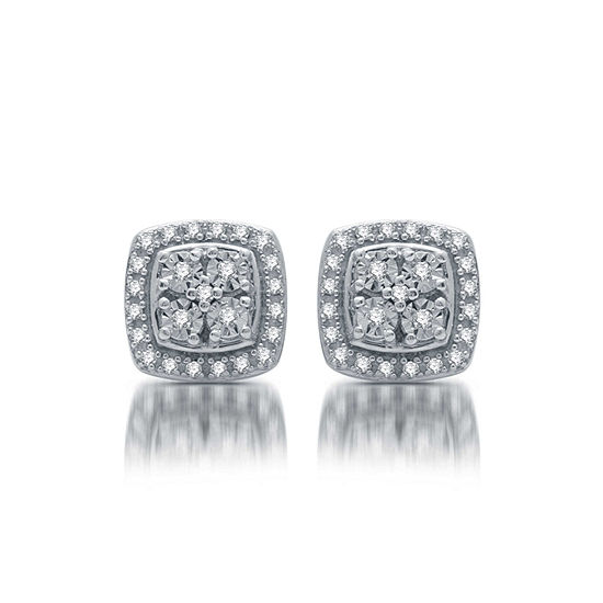 LIMITED TIME SPECIAL! 1/10 CT. T.W. Genuine Diamond Stud Earrings in Sterling Silver