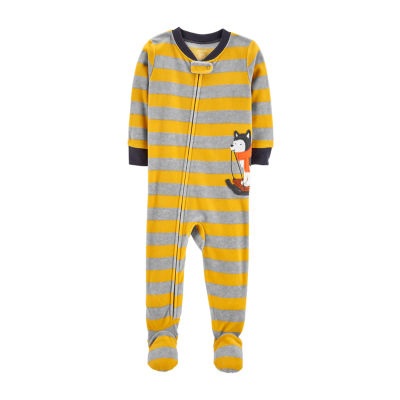 Carter's Boys Fleece One Piece Pajama Long Sleeve V Neck