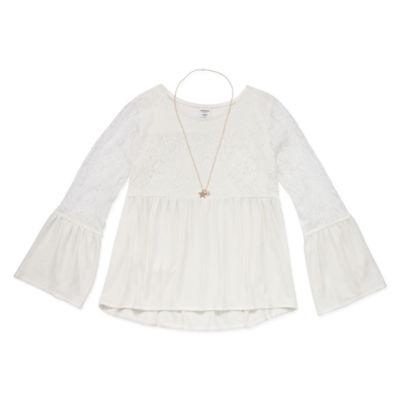Arizona Long Sleeve Lace Yoke Top With Necklace - Girl's 4-16 & Plus