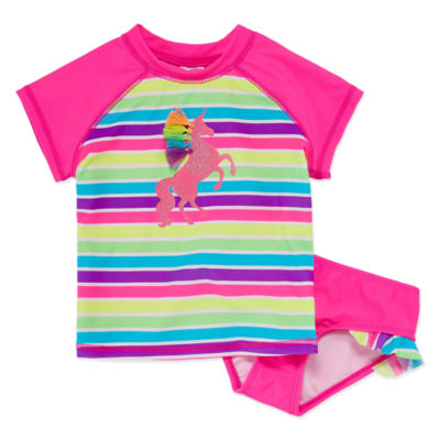 Okie Dokie Unicorn Stripe Rash Guard Set - Toddler Girls