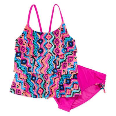 Arizona Chevron Flounce Tankini - Girls 4-16 & Plus