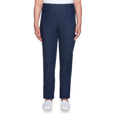 Alfred Dunner News Flash Straight Fit Woven Pull-On Pants-Petite