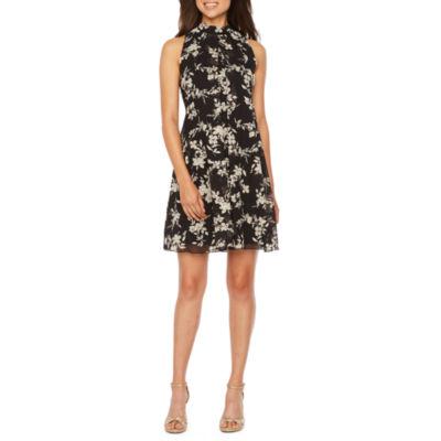 Robbie Bee Sleeveless Foil Floral A-Line Dress
