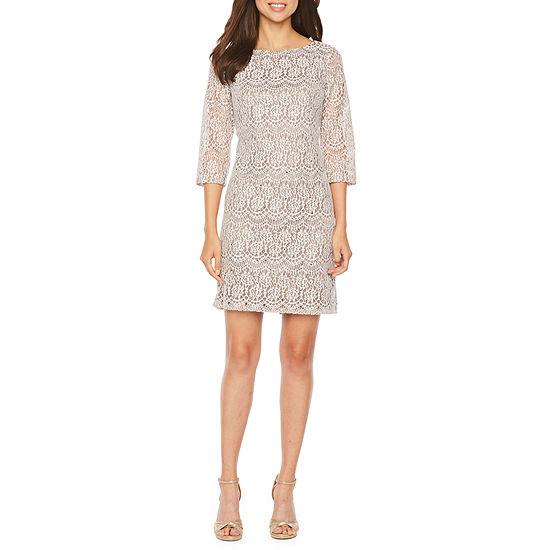 Jessica Howard 3/4 Sleeve Lace Shift Dress