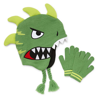 Dino Trapper Hat with Gloves Set-Boys