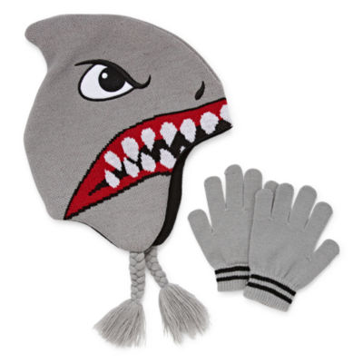 Shark Trapper Hat with Gloves Set-Boys