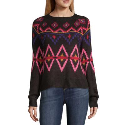 Arizona Long Sleeve Round Neck Pattern Pullover Sweater-Juniors