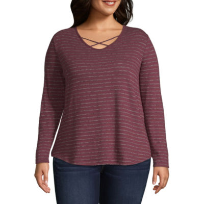 Arizona-Womens V Neck Long Sleeve T-Shirt Juniors Plus