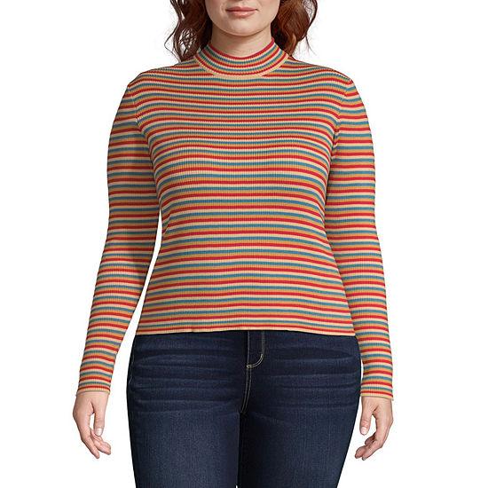 Arizona Juniors Plus-Womens Mock Neck Long Sleeve T-Shirt