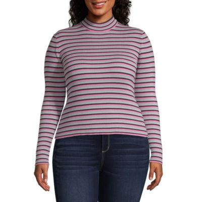 Arizona-Womens Mock Neck Long Sleeve T-Shirt Juniors Plus