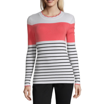 Liz Claiborne Womens Scallop Neck Long Sleeve Stripe Pullover Sweater