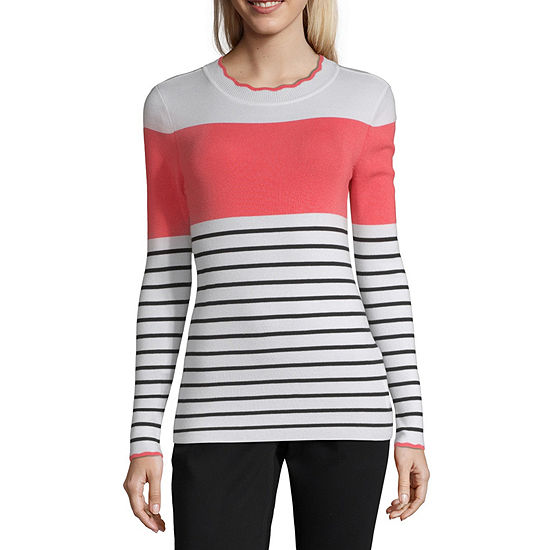 Liz Claiborne Womens Scallop Neck Long Sleeve Striped Pullover