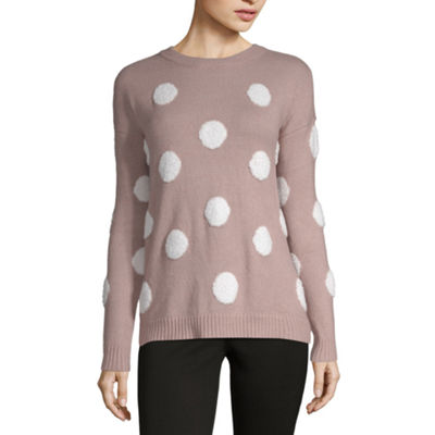 a.n.a Womens Round Neck Long Sleeve Polka Dot Pullover Sweater