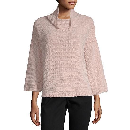Liz Claiborne Womens Cowl Neck 3 4 Sleeve Pullover Sweater