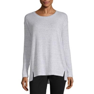Liz Claiborne Long Sleeve Crew Neck Pattern T-Shirt-Womens