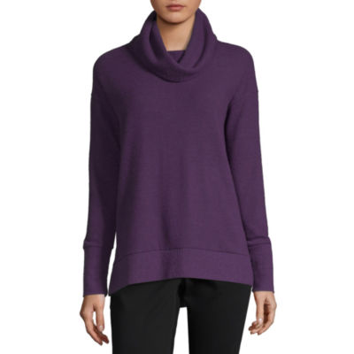 Liz Claiborne-Womens Cowl Neck Long Sleeve T-Shirt