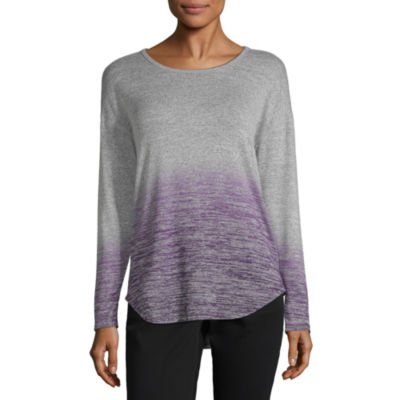 Liz Claiborne Long Sleeve Round Neck Ombre T-Shirt-Womens