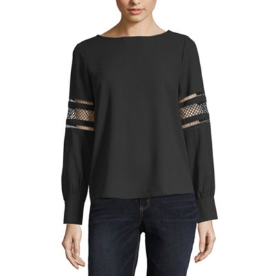 Liz Claiborne Womens Scoop Neck Long Sleeve Blouse