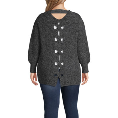Boutique + Long Sleeve Lace-Up Back Sweater - Plus
