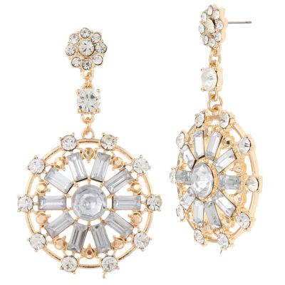 Bijoux Bar Clear Brass Drop Earrings